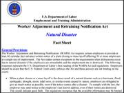WARN Natural Disaster Fact Sheet